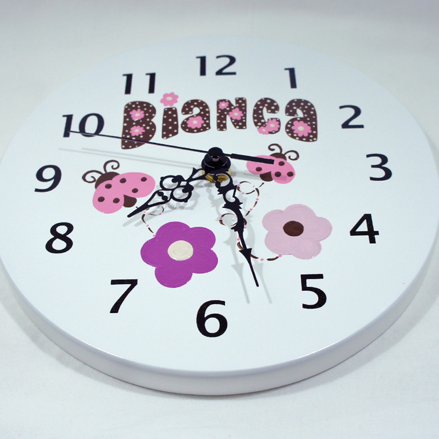 Reloj para ni os personalizado mariquitas rosadas regalo - Relojes para decorar paredes ...