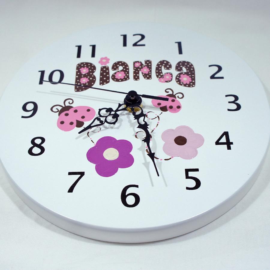 Reloj para ni os personalizado mariquitas rosadas regalo - Reloj pintado en la pared ...